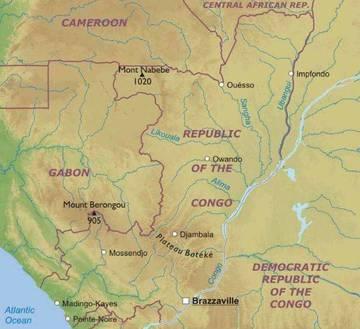 Cartina Africa Centrale.Carta Fisica Repubblica Del Congo Africa Centrale