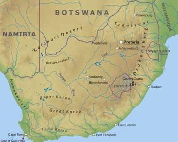 Cartina Sud Africa Da Stampare.Carta Fisica 2 Sudafrica Africa Meridionale Africa Paesi Home Unimondo
