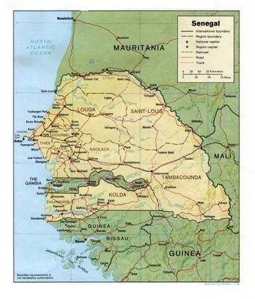 Cartina Fisica Senegal.Carta Fisica Senegal Africa Occidentale Africa Paesi