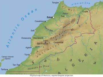 Carta Fisica Marocco Africa Settentrionale Africa