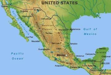 Carta Fisica Messico America Centrale Americhe Paesi Home