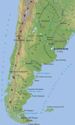 Carta Fisica Argentina America Meridionale Americhe