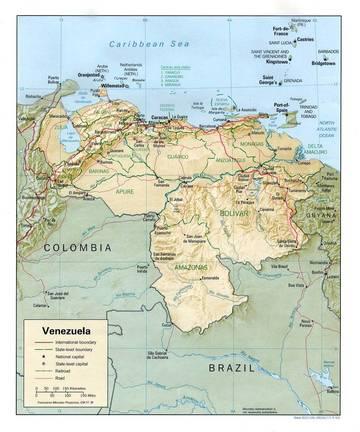 Carta Fisica Venezuela America Meridionale Americhe Paesi