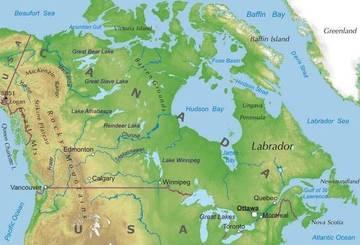 Canada Cartina Fisica.Carta Fisica Canada America Settentrionale Americhe Paesi Home Unimondo