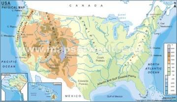 Stati Uniti Cartina Fisica E Politica.Carta Fisica 2 Stati Uniti D America America Settentrionale Americhe Paesi Home Unimondo