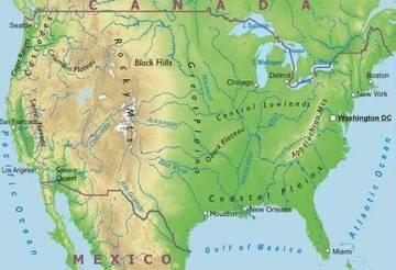 America Nord Cartina Fisica.Carta Fisica Stati Uniti D America America