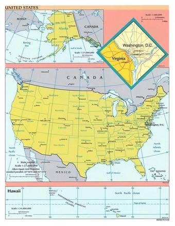 Cartina Politica America Settentrionale.Carta Politica 2 Stati Uniti D America America