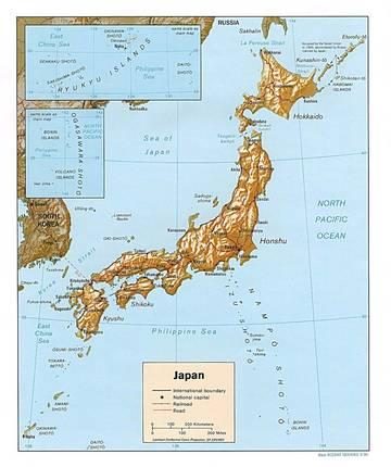 Cartina Del Giappone Politica.Carta Fisica Giappone Asia Orientale Asia Paesi Home Unimondo