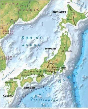 Il Giappone Cartina Fisica.Carta Fisica Giappone Asia Orientale Asia Paesi Home Unimondo