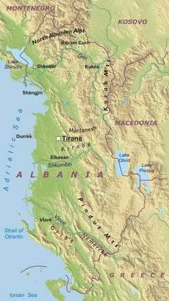 Cartina Albania Fisica.Carta Fisica Albania Europa Meridionale Europa Paesi Home Unimondo