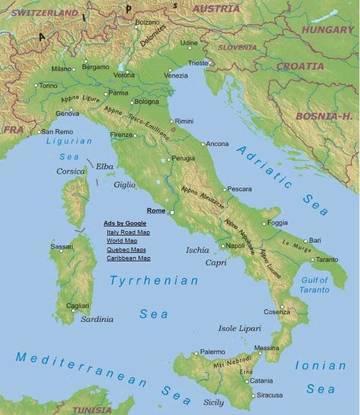 Cartina Fisica Italia Golfi.Carta Fisica Italia Europa Meridionale Europa Paesi Home Unimondo