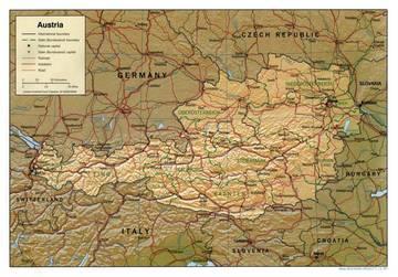 Cartina Fisica Austria.Carta Fisica Austria Europa Occidentale Europa Paesi