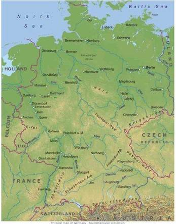Cartina Fisica Muta Germania.Cartina Fisica Germania In Italiano