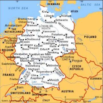 La Germania Cartina Politica.Carta Politica Germania Europa Occidentale Europa Paesi Home Unimondo