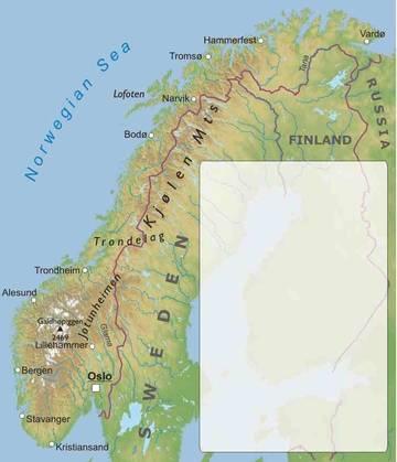 Carta Fisica Norvegia Europa Settentrionale Europa