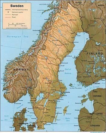 Europa Fisica Cartina Da Stampare.Carta Fisica Svezia Europa Settentrionale Europa Paesi Home Unimondo