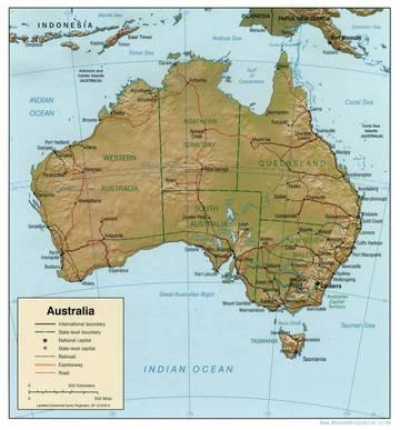 Cartina Fisica Dell Australia.Carta Fisica Australia Australia E Nuova Zelanda